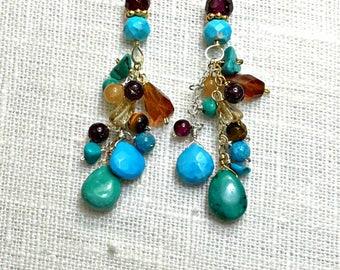 Turquoise Earrings Dangle Earrings 14k Gold Fill Wire Wrap Colorful Gemstone Earrings Hessonite Garnet Citrine Turquoise Rustic Earrings