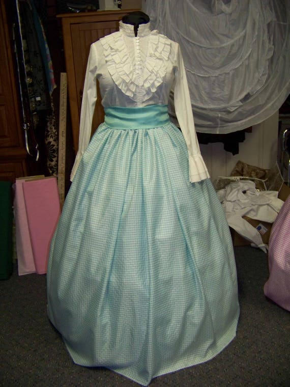Victorian Skirts | Bustle, Walking, Edwardian Skirts Civil War SkirtVictoriancostume Long drawstring SKIRT and Sash Aqua Green and white checked Taffia with matching sash Handmade $29.99 AT vintagedancer.com