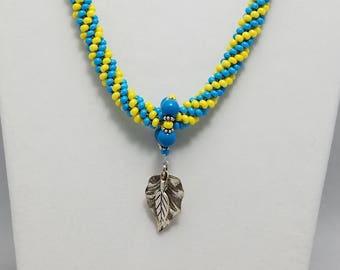 Santa Fe Blue/Lemon Yellow Spiral Kumihimo Necklace