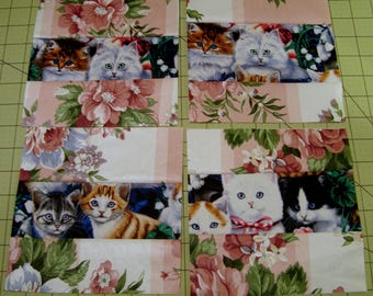 Sale10 Novelty Kitten Cat Quilt Blocks with Pink for Quilts or Crafts