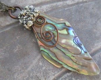 Abalone Pendant, Paua Pendant, Paua Shell Necklace, Abalone Necklace, Sea Shell Jewelry, Paua Shell Jewelry, Abalone Shell Jewelry, Copper