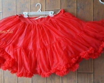 Vintage 50s 60s crinoline petticoat slip chiffon pink flower ribbon skirt small