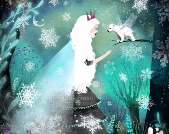 50% Off - Summer SALE - Snow Queen and Fairy Bear - open edition print