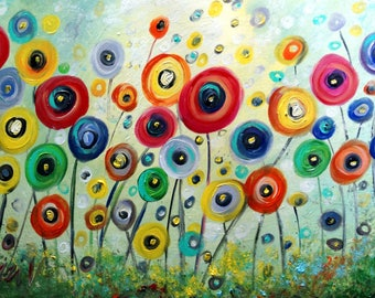 POPPY FLOWERS Original Painting Whimsical Colorful Landscape Art by Luiza Vizoli 36x24