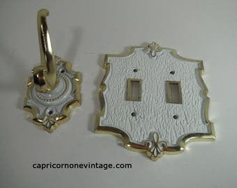 Vintage Light Switch Plate & Hook Set Vintage Hollywood Regency Double Switch Cover French Chic Bathroom Decor Vintage 1960s 1970s Baroque