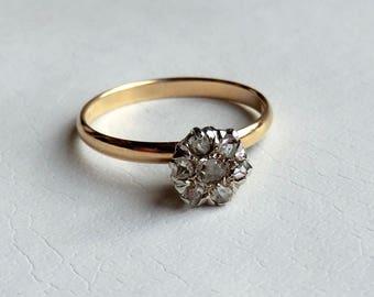 Antique Rose Cut Diamond Ring 10K Conversion Ring Engagement Wedding Keepsake