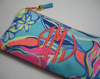 Lilly Pulitzer (Breezy Babe) Pencil Case, Make Up Bag, Back to School, Cosmetic Bag, Preppy, Bridesmaid Gift, Stocking Stuffer