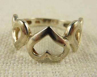 Vintage Size 5.75 Sterling Triple Heart Ring