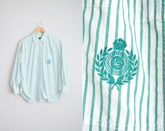 Size L/XL // PINSTRIPED SHIRT // Green & White - Long Sleeve - Button-Up - Embroidered Crest - Preppy - Vintage '80s.
