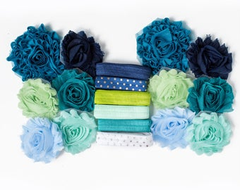 It's Electric : Teal + Mint Green DIY Headband Kit | 6 or 12 Headbands | Chiffon Flower FOE Fold Over Elastic | Parties & Baby Showers