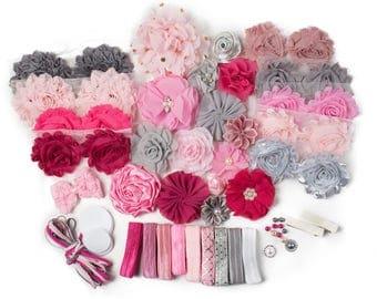 Flapper Girl  : DELUXE DIY Flower Elastic Headband Kit   MAKES 25+ Hair Accessories   Baby Showers + Birthdays Pink Gray