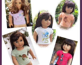 18 inch Doll Clothes -  Girl Dolls -Tee Shirt - Themes - Hat - Turtle - Cat - Horse - Flowers