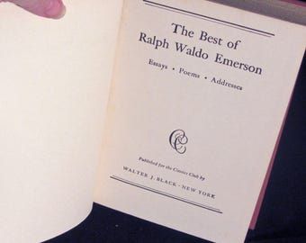 The Best of Ralph Waldo Emerson Essays Poems and Addresses Vintage Book 1941