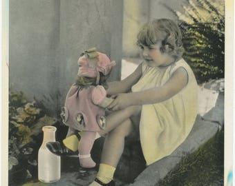 Vintage Print of Girl with Doll