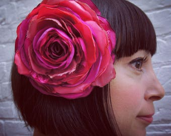Bright magenta pink recycled satin hair flower
