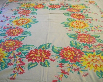 Vintage Tablecloth, Tablecloth with Flowers, Red, Yellow, Blue, Big Tablecloth, Flowered Tablecloth, Table Linens, Vintage Kitchen