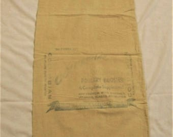 Vintage Feed Sack Bag, Chicken Feed Sack Bags, Poultry Booster, KANSAS CITY MO, Cloth Seed Bag