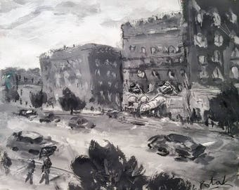 Beacon street, Cheers painting, Boston city tavern and street scene, where everybody knows your name black and white acrylic art