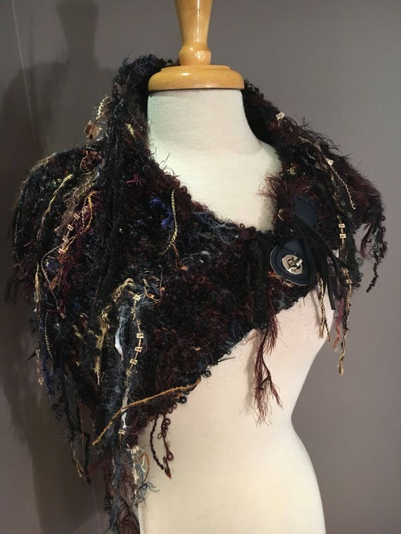 Handknit Shag Art Boho Cowl with leather clasp closure, 'Fetish' Series, Knit Collar, Black Maroon Navy Cowl with fringe, alpaca cowl