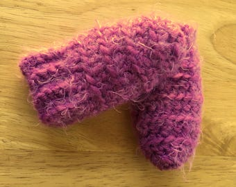 Purple Infant Thumbless Crochet Mittens