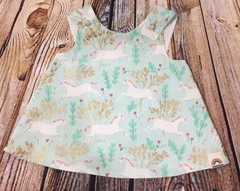 "Little Girl Dress ""Dixie"" Crossover back Pinafore Unicorn dress 9-12 month // Baby Shower Gift // Handmade Dress // Gifts for Baby Girls"