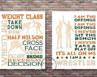 Wrestling Wall Art, Set,I Am A Wrestler,Instant DIGITAL, YOU PRINT,Wrestling Typography,Wrestling Print,Wrestler Poster, Gifts For Wrestlers