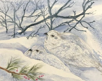 Ptarmigan,White-Tailed Winter Birds,White Plumage, Rock and Willow, Red Berries,Watercolor Fine Art Print,Winter Scene,Janet Dosenberry