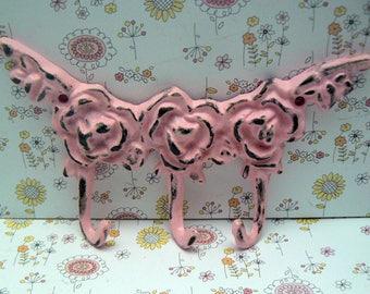 Rose Shabby Style Chic Cast Iron Multi Hook Pink Distressed Mini Small Pet Leash Key Jewelry Hooks Roses Kitchen Nursery Bedroom Decor