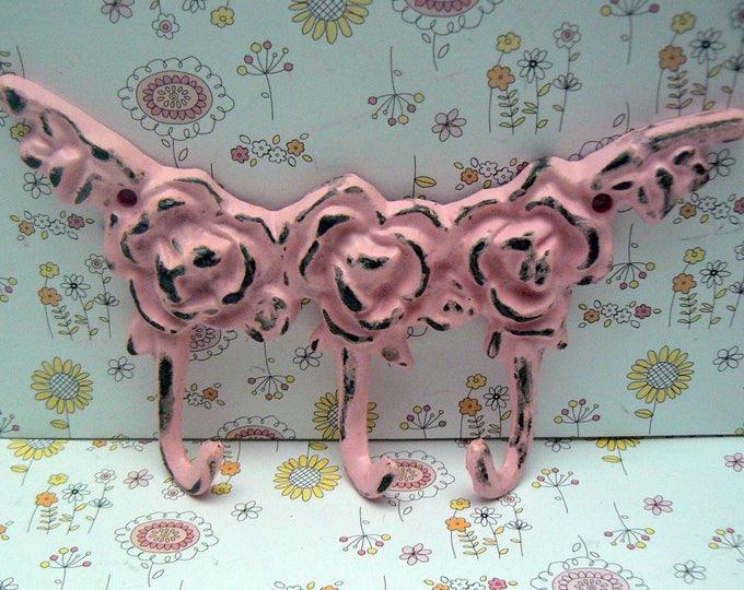 Rose Shabby Elegance Cast Iron Multi Hook Pink Distressed Mini Small Pet Leash Key Jewelry Hooks Roses Kitchen Nursery Bedroom Decor