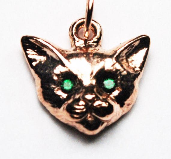 Rose Gold Kitty Cat Charm with Emerald Eyes