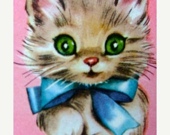 ONSALE Precious Kitsch Vintage 1950s Kittens Trade Playing Cards Kitty Cat  Lot