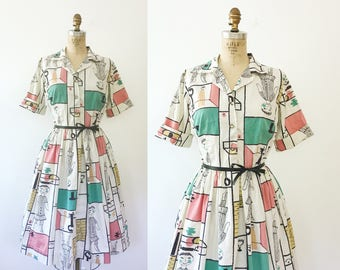 50s cotton dress / vintage shirt dress / Doll Patterns dress