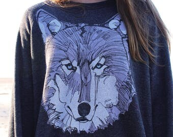 Lavender Wolf Crewneck Sweater
