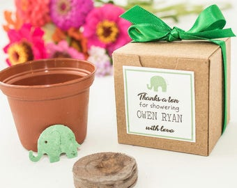 Plantable Seed Paper Elephant Garden Baby Shower Favors - Baby Boy, Girl, or Gender Neutral Baby Shower Favor, Set of 12, Personalized Tags