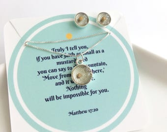 mustard seed necklace and earring set. symbolic scripture jewelry gift. silver mustard seed jewelry. christian bible verse pendant and chain