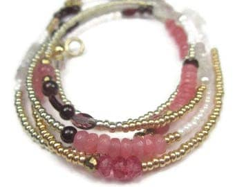 Gemstone Wrap Bracelet Gold and Pink Necklace Long Seed Bead and Semiprecious Stones
