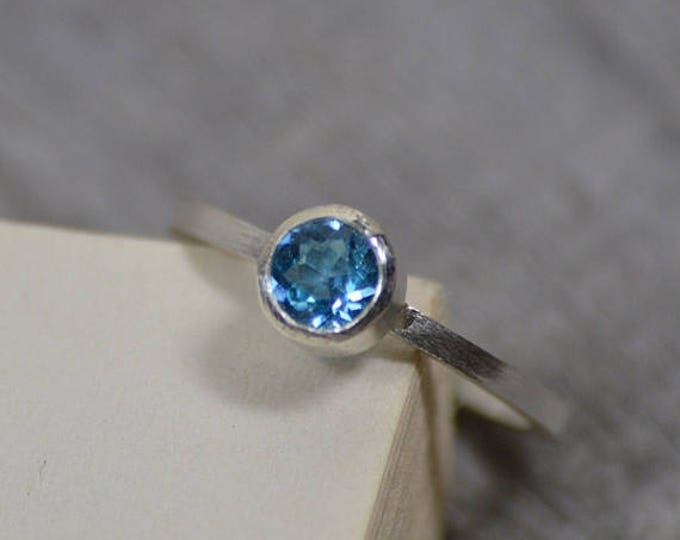 Summer Sale Blue Topaz Ring Set In Sterling Silver, Topaz Stacker Or Solitaire Ring, Blue Topaz Engagement Ring, November Birthstone Ring