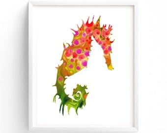 Nursery Art, Printable Seahorse Print Gender Neutral Nursery, Orange Seahorse,  Ocean, Sea Creatures, Sea Life, Nautical Theme, Nursery Art