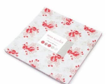 SALE Red Cream Tan Miss Scarlet Fabric - Layer Cake - Minick and Simpson - Moda