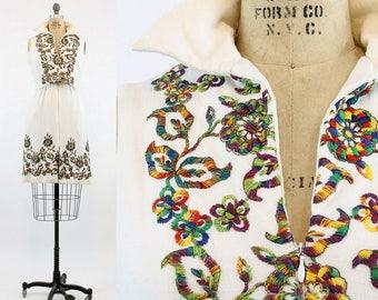 60s Teal Train Linen Dress Medium / 1960s Vintage Dress Designer Embroidered / French Riviera Dress