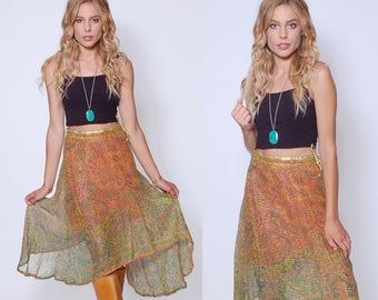 Vintage 70s WRAP Skirt Ethnic PAISLEY Print Skirt Cotton Gauze Skirt Hippie Skirt BOHO Skirt