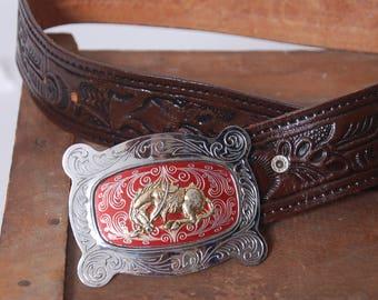 Vintage HORSE Buckle Belt TOOLED Leather Belt Leather WESTERN Belt 70s Hippie Belt