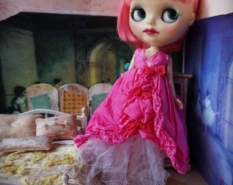 BLYTHE DRESS -  Floating on the Clouds Hand-Dyed Silk Gown - Fuchsia Pink