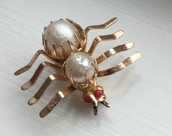 Vintage Faux Pearl and Enamel Spider Brooch Pin