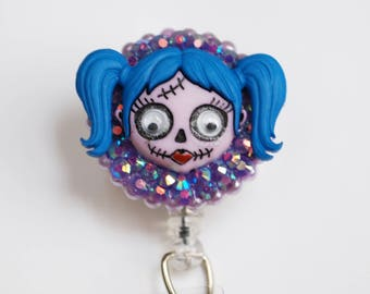 Halloween Zombie Girl ID Badge Reel - Retractable ID Badge Holder - Zipperedheart