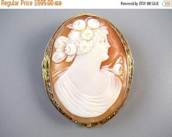 ANNUAL CAMEO SALE Antique Edwardian 14k rose gold filigree cameo brooch pin pendant necklace