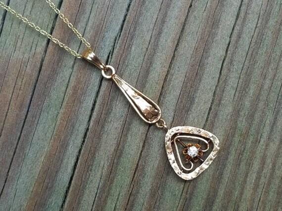 Antique Edwardian 10k gold buttercup set diamond lavalier pendant necklace / lavaliere