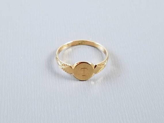 Antique baby ring, signet ring, letter T, 10k gold, christening, baptism, baby gift, baby shower, infant, nursery, size 0, Lewis Stern Co.