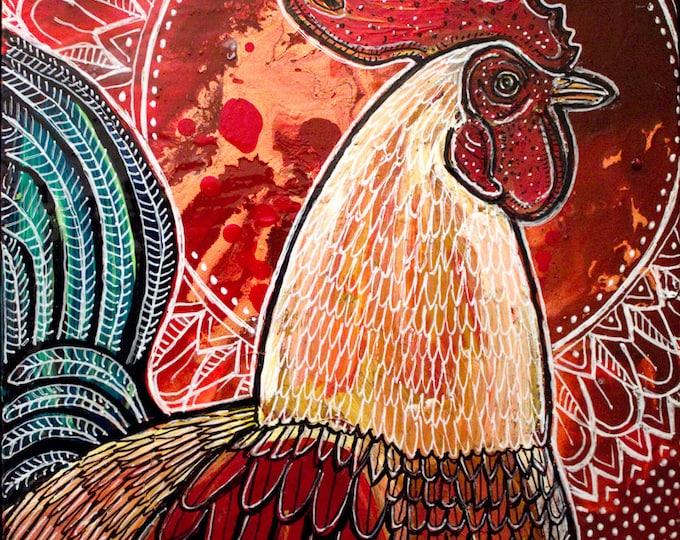 Original Morning Rooster Miniature Art by Lynnette Shelley