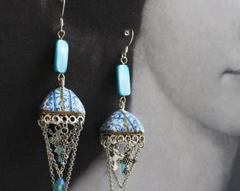 Tiled Dome Earrings Bohemian Persian Tile Portugal Blue Antique Azulejos like Nazaré Chapel Santa Joana Convent Crosses Bohochic Turquoise